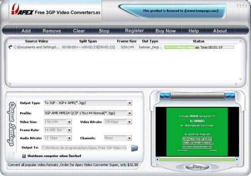 Free 3GP Video Converter 3.2.2.57