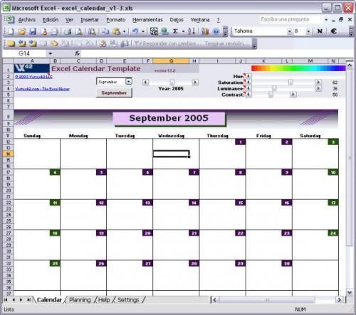 Excel Calendar Template 1.3.2